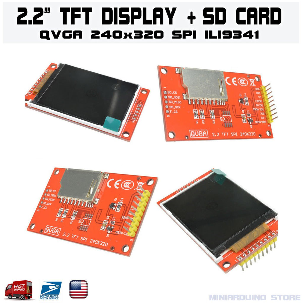 "2.2"" Serial ILI9341 SPI TFT LCD Display Module 240x320 Chip PCB Adapter SD Card - eElectronicParts"