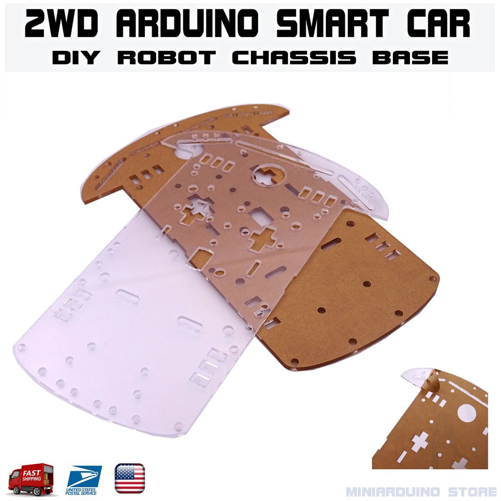 2WD Smart Car Robot Chassis Base Acrylic Plate Kit Arduino MCU DIY - eElectronicParts