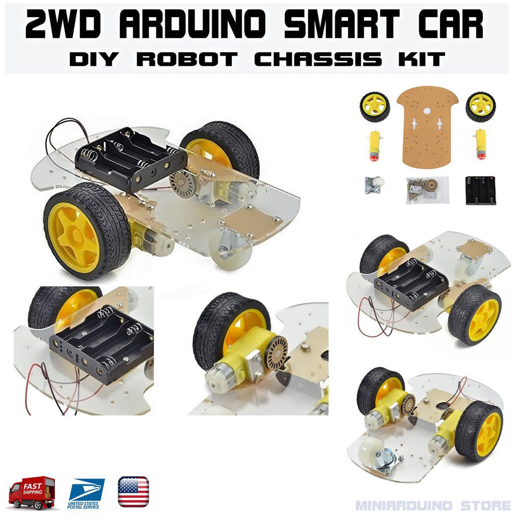 DIY 2WD Smart Car Robot Chassis Kit Arduino MCU with speed encoder - eElectronicParts