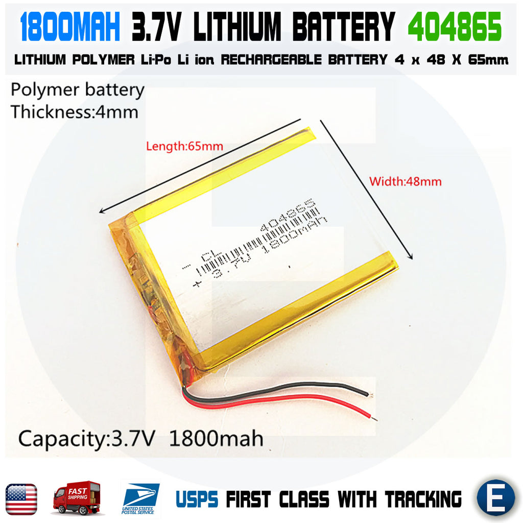 3.7V 1800mAh 404865 Lithium Polymer LiPo Rechargeable Battery - eElectronicParts