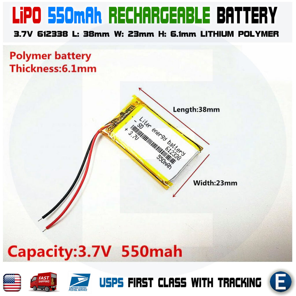3.7V 550mAh 612338 lithium polymer lipo rechargeable battery - eElectronicParts