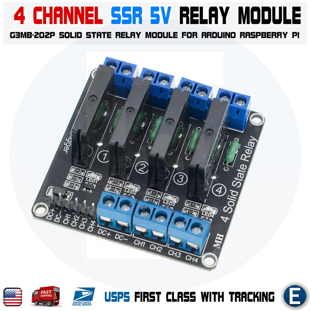 4 Channel 5V DC Relay Module Solid State Low Level SSR G3MB-202P 2A 240V - eElectronicParts