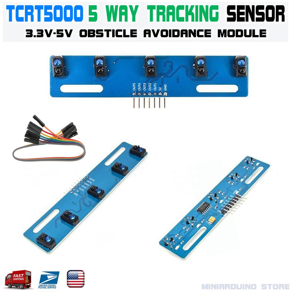 TCRT5000 Infrared Line 5-way Tracking Sensor Obstacle Avoidance Module Robotics - arduino -