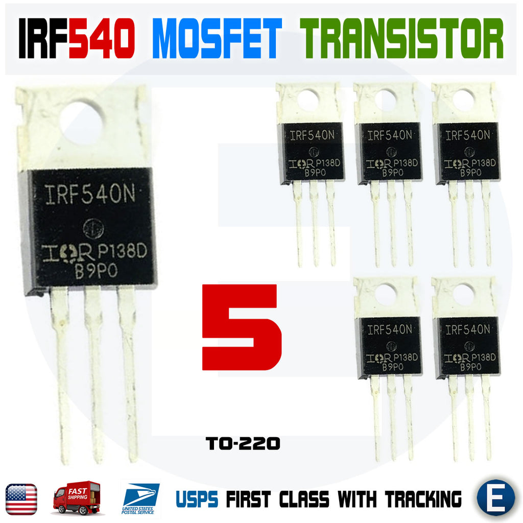 5Pcs IRF540N Mosfet N-Channel IR Power Transistor 33A 100V TO-220 - eElectronicParts