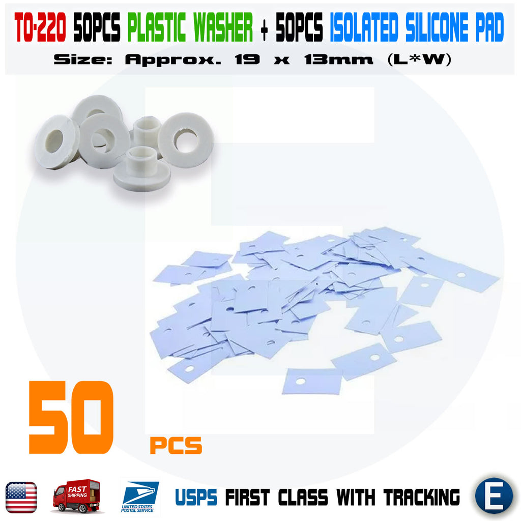 50PCS Transistor Plastic Washer Insulation Washer + Silicone Pads TO-220 - eElectronicParts