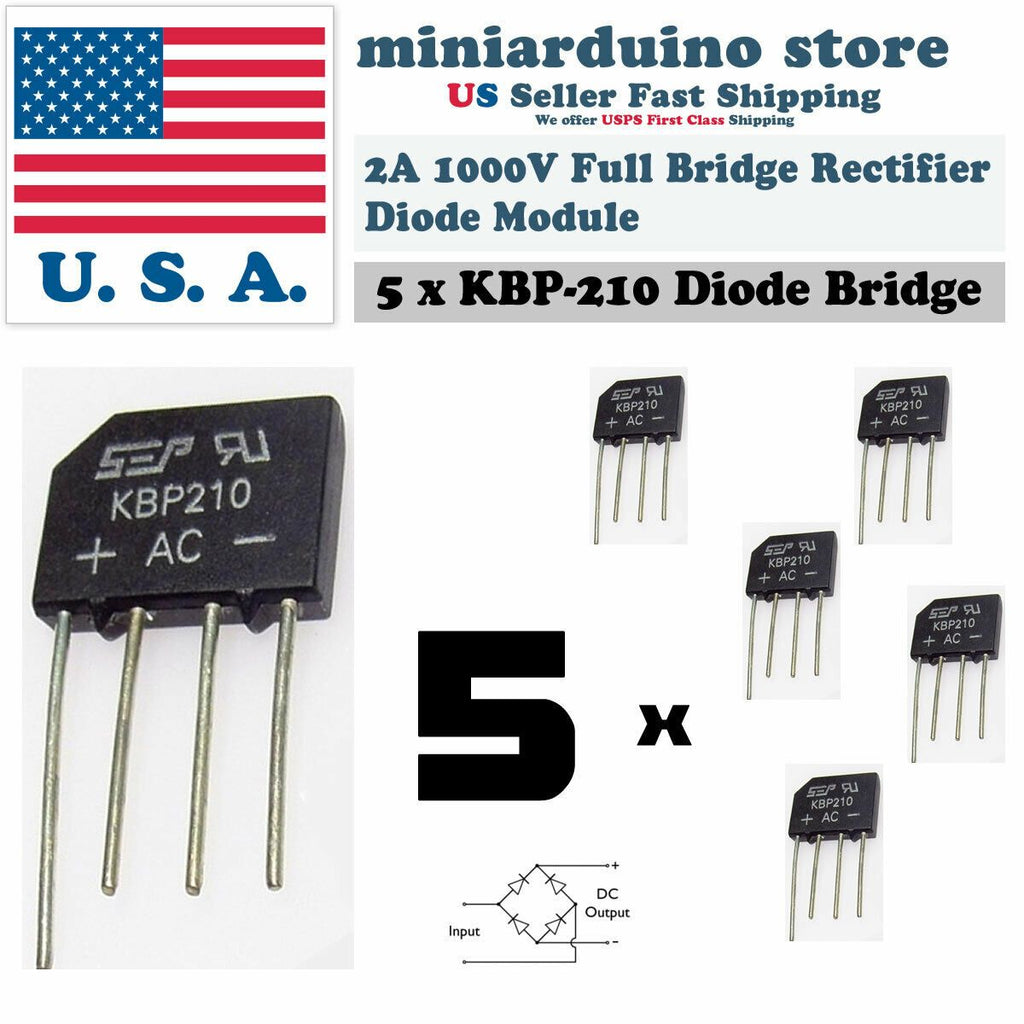 5PCS KBP210 Generic Diode Full Bridge Rectifier 2A 1000V 4PIN - eElectronicParts