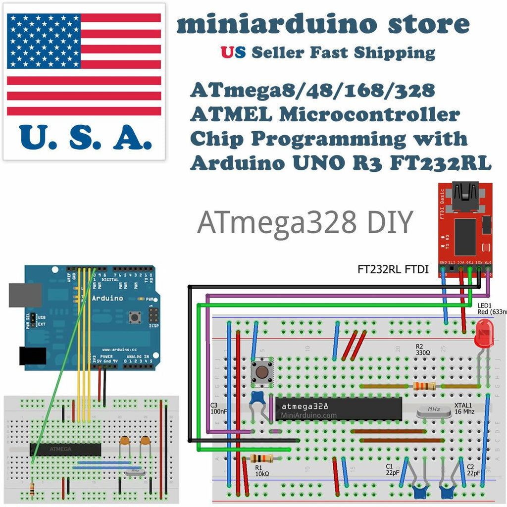 ATmega328P DIY arduino Mini Learning Kit 22pF 100nF 16MHz crystal breadboard - eElectronicParts