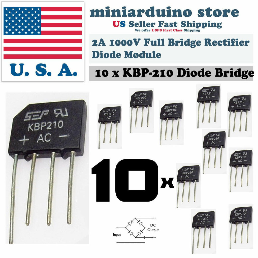 10PCS KBP210 Generic Diode Full Bridge Rectifier 2A 1000V 4PIN - eElectronicParts
