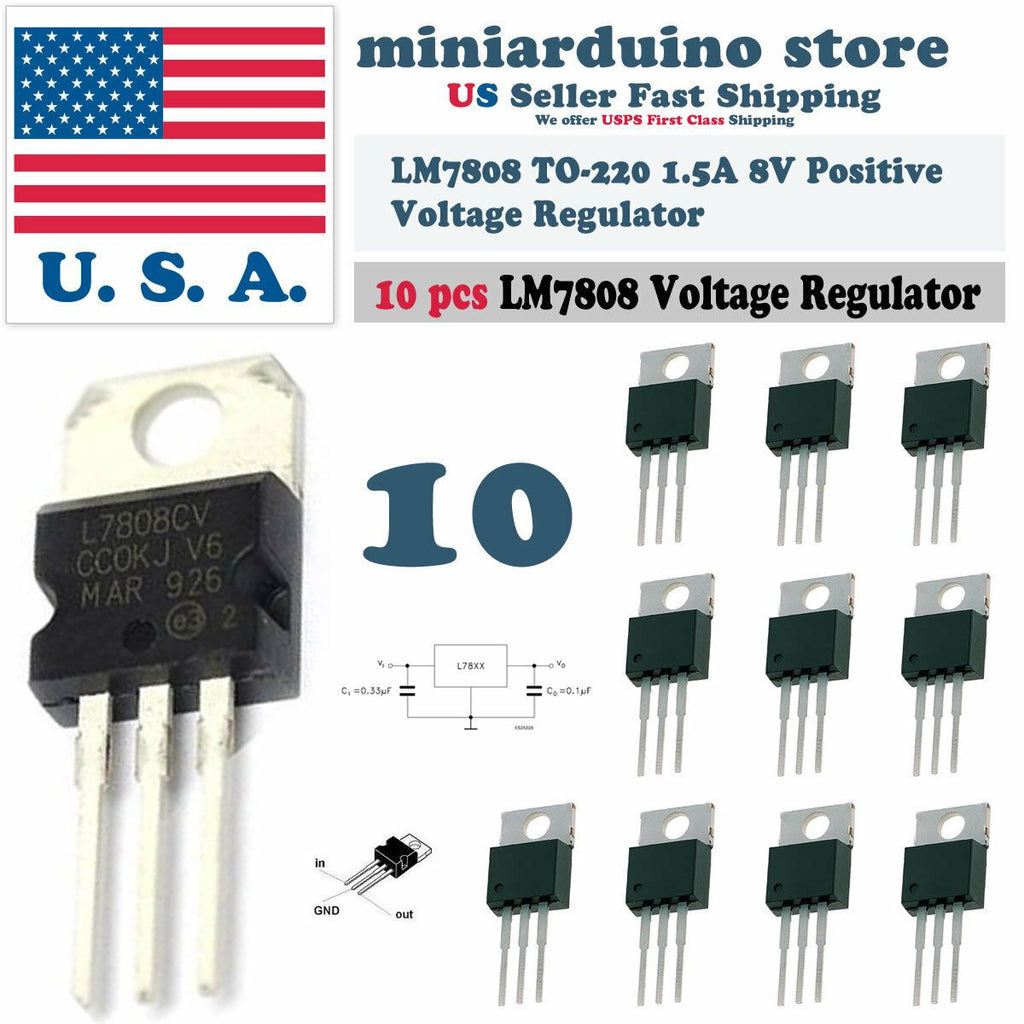 10pcs 7808 L7808 L7808CV LM7808 8V Voltage Regulator Positive TO-220 1.5A - eElectronicParts