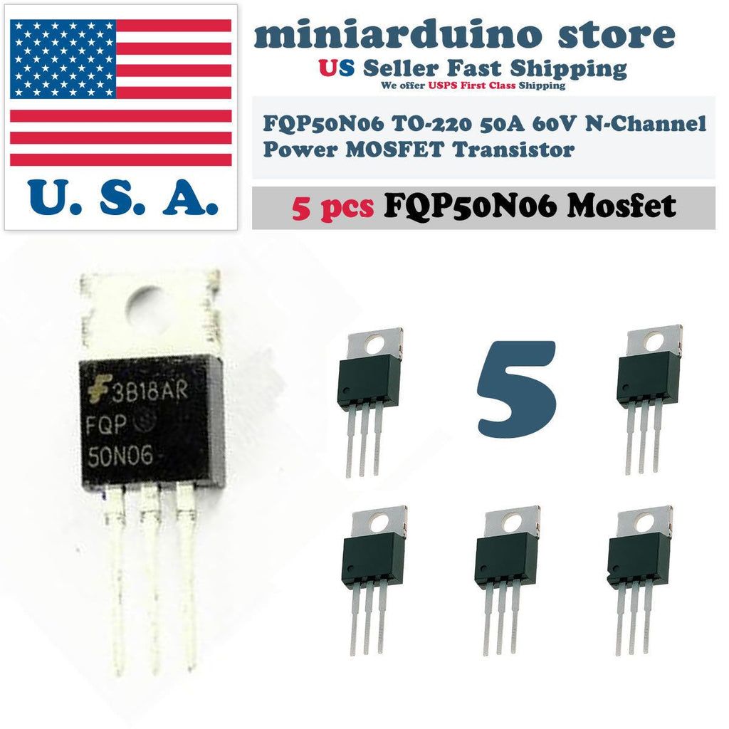 5pcs FQP50N06 Transistor Power MOSFET N Channel 60V 50A 50N06 Fairchild NEW USA - eElectronicParts