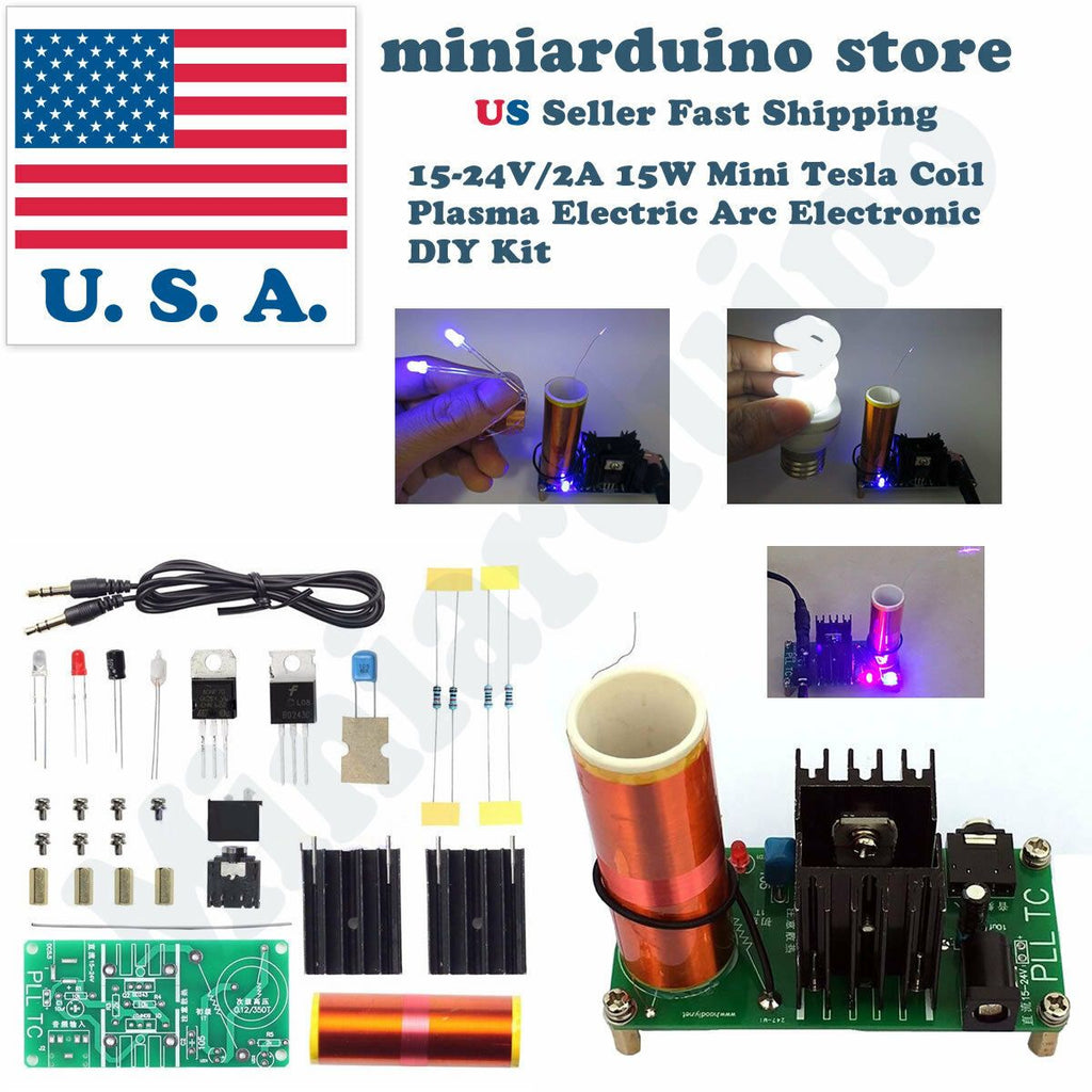 15-24V/2A 15W Mini Tesla Coil Plasma Electric Arc Electronic DIY Kit Music Play - eElectronicParts