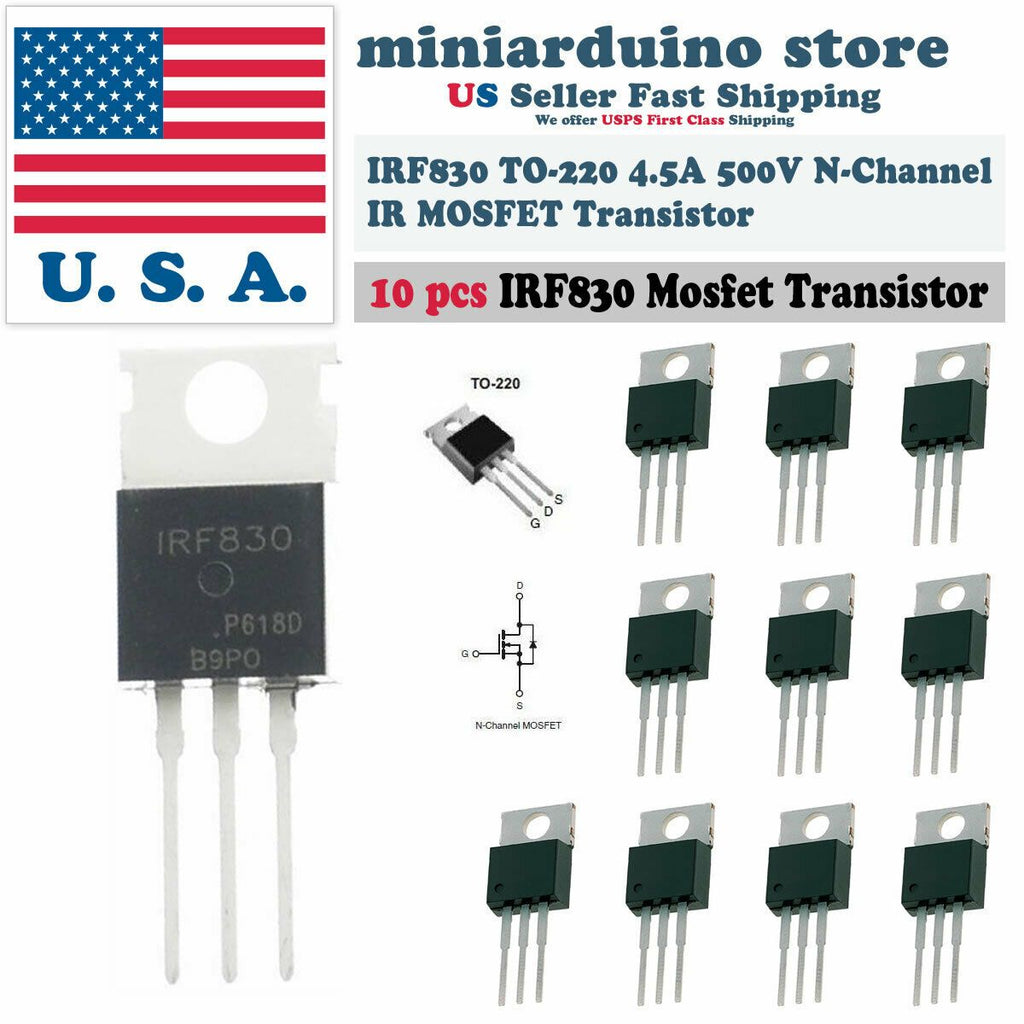 "10pcs IRF830 ""IR"" Power MOSFET N-Channel 4.5A 500V Transistor - eElectronicParts"