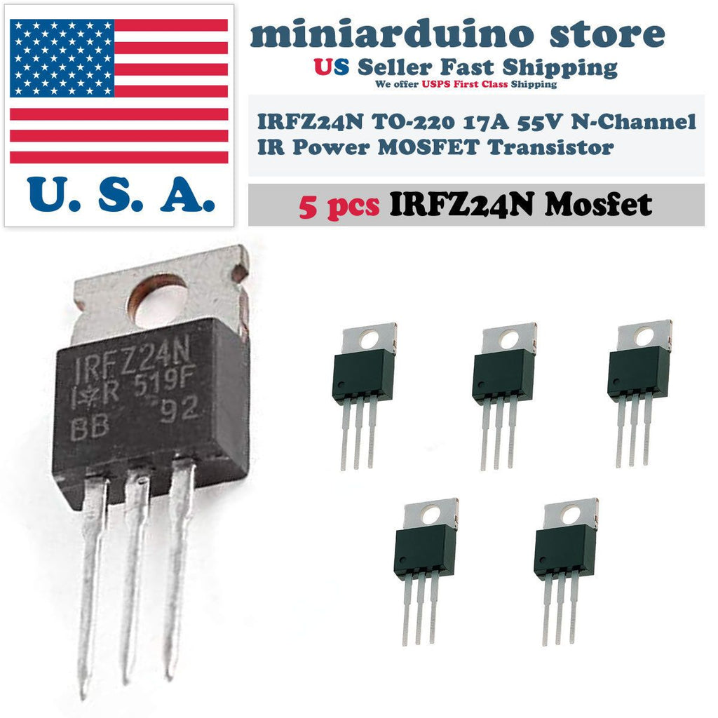 5pcs IRFZ24N IRFZ24 Power MOSFET Transistor HEXFET 17A 55V Fast Switching IR - eElectronicParts