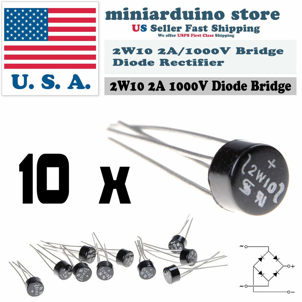 10pcs 2W10 2A 1000V Diode Bridge Rectifier Round 4 pin Single Phase New - eElectronicParts