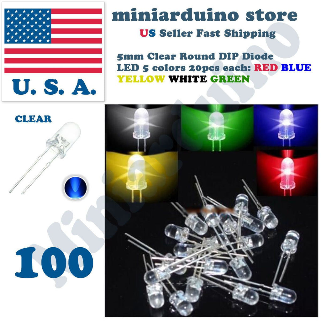 100pcs 5mm Clear LED Light White Yellow Red Blue Assorted Assortment 20pcs each - eElectronicParts