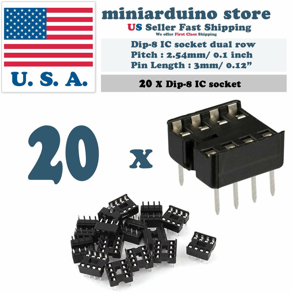 20pcs Dip-8 IC Socket Solder Type Double Row 8PIN DIP Integrated Circuit - eElectronicParts
