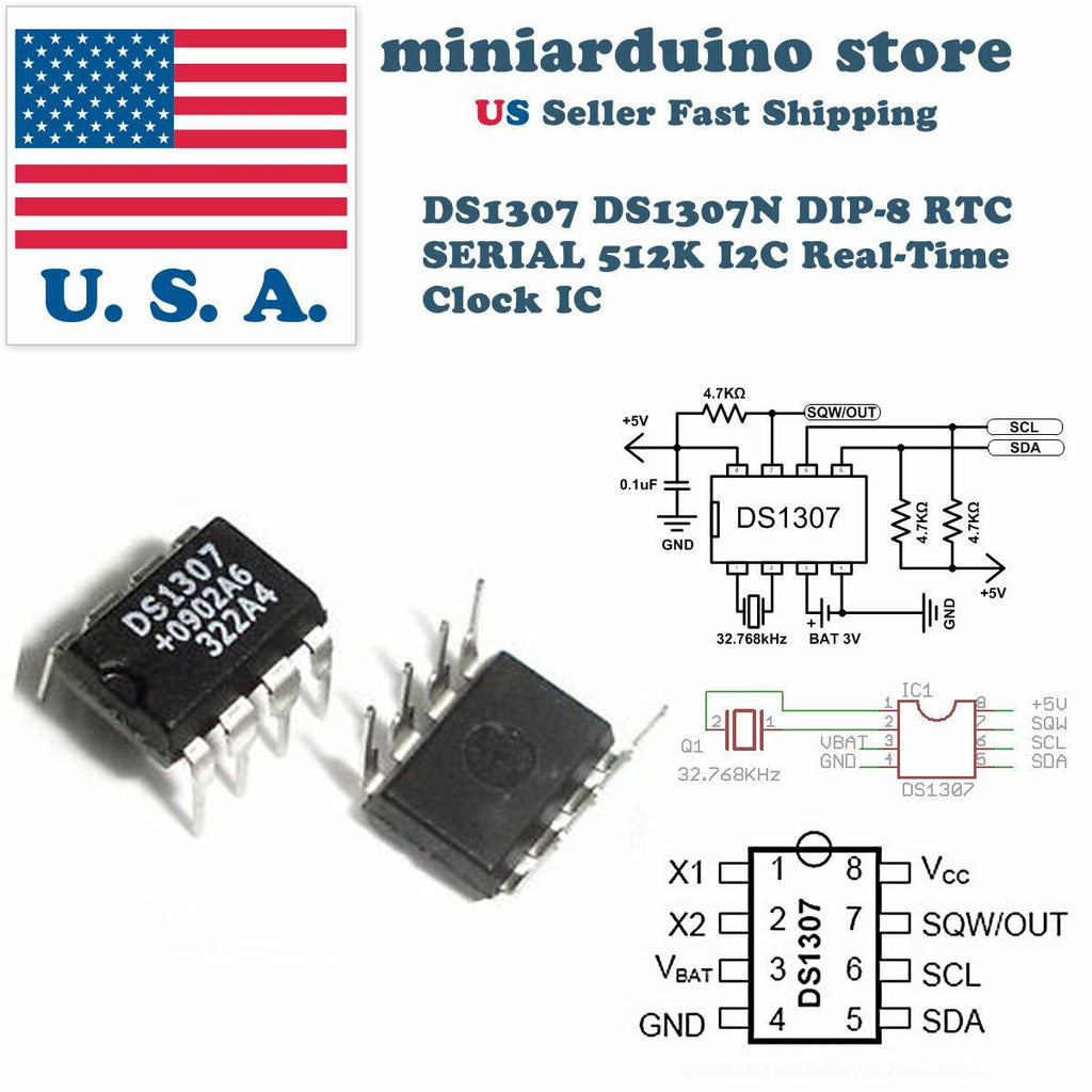10PCS DS1307 DS1307N DIP-8 RTC SERIAL 512K I2C Real-Time Clock DIP8 IC - eElectronicParts