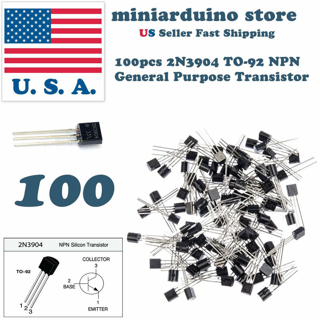 100Pcs 2N3904 TO-92  common NPN bipolar junction general purpose transistor USA - eElectronicParts