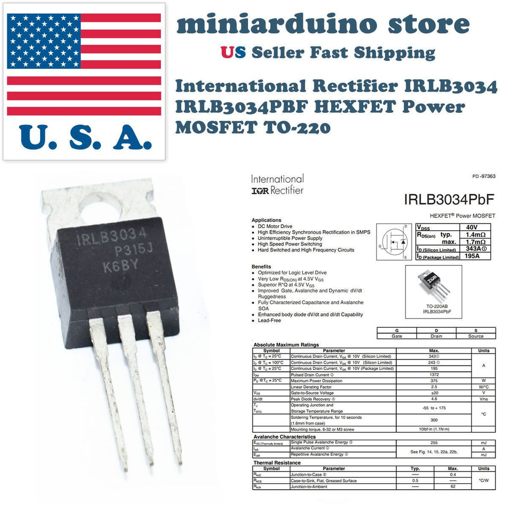 10pcs IRLB3034PBF IRLB3034 HEXFET Power MOSFET TO-220 Rectifier Box Mod - eElectronicParts