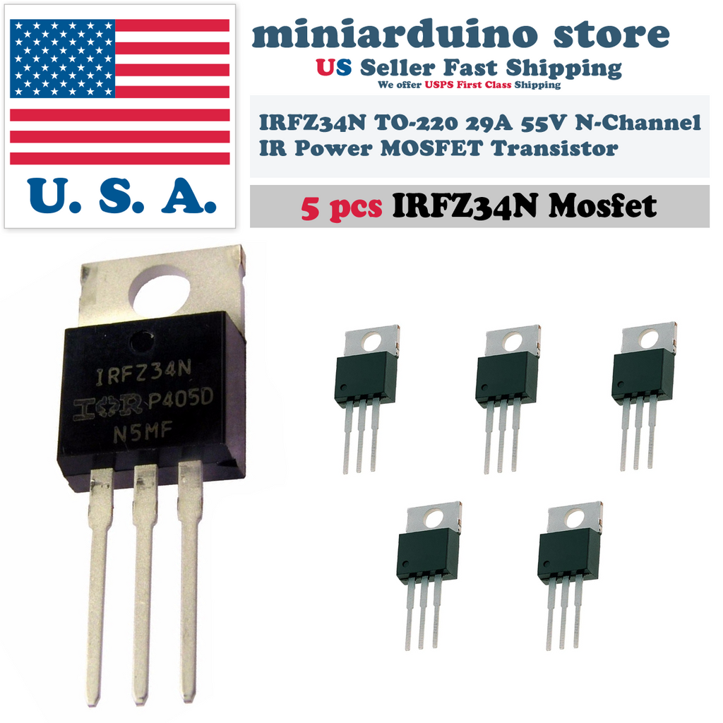 5pcs IRFZ34N IRFZ34 Fast Switching Power MOSFET Transistor HEXFET 29A 55V - eElectronicParts