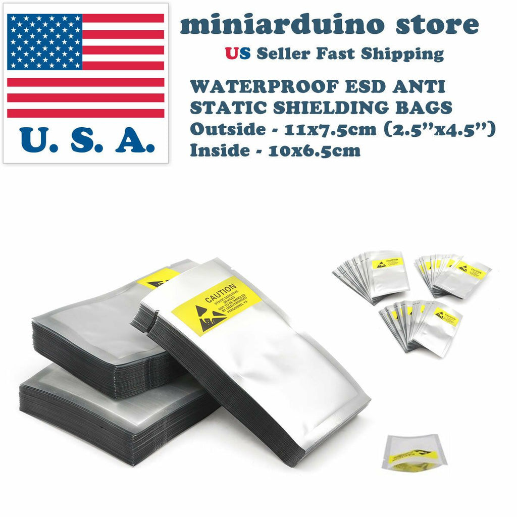 100pcs ESD Anti Static Shielding Bags 2.5''x 4.5'' 11*7cm Waterproof Electronics - eElectronicParts