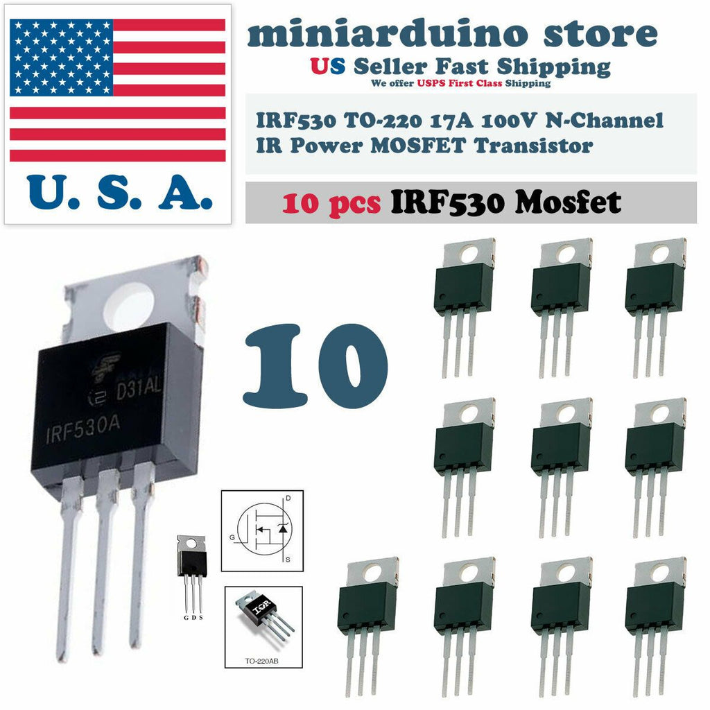 "10pcs IRF530 ""IR"" Power MOSFET N-Channel 17A 100V Transistor - eElectronicParts"
