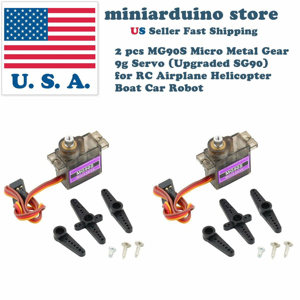 2 MG90S Micro Metal Gear 9g Servo for RC Airplane Helicopter Boat upgraded SG90 - eElectronicParts