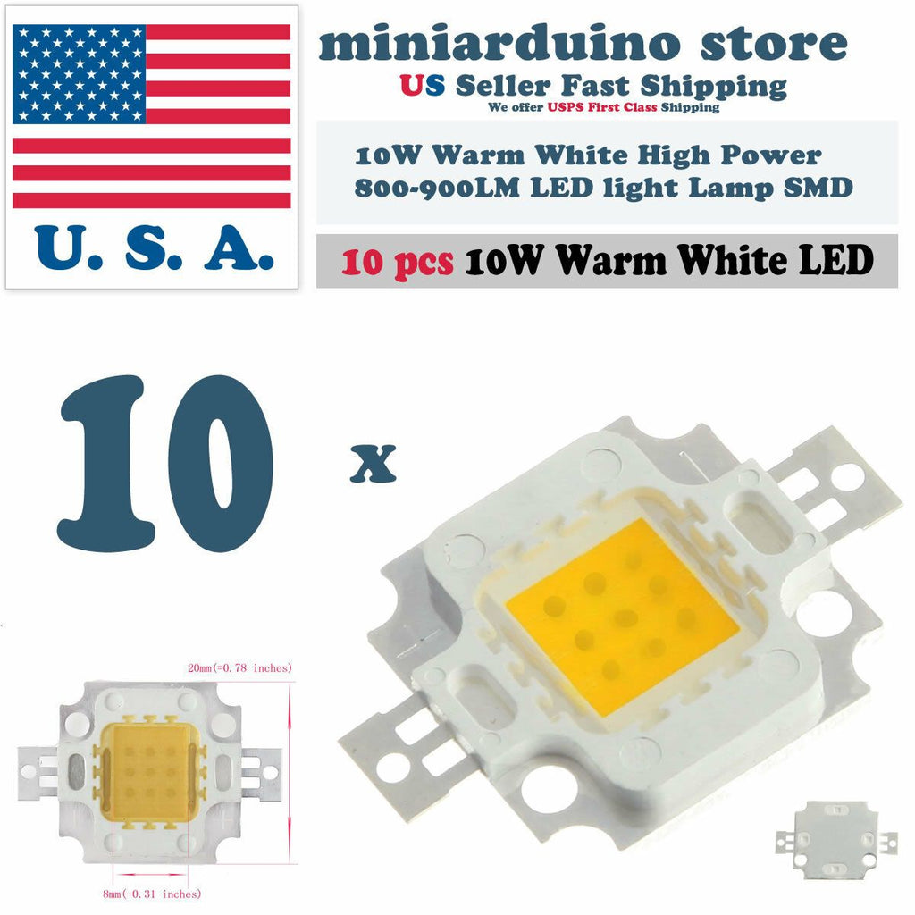 10PCS 10W Warm White High Power 800-900LM LED light Lamp SMD Chip DC 9-12V - eElectronicParts