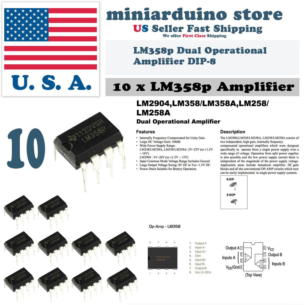 10pc LM358 LM358N LM358P Dual Op ICs Amp DIP-8 Low Power Operation Amplifier - eElectronicParts