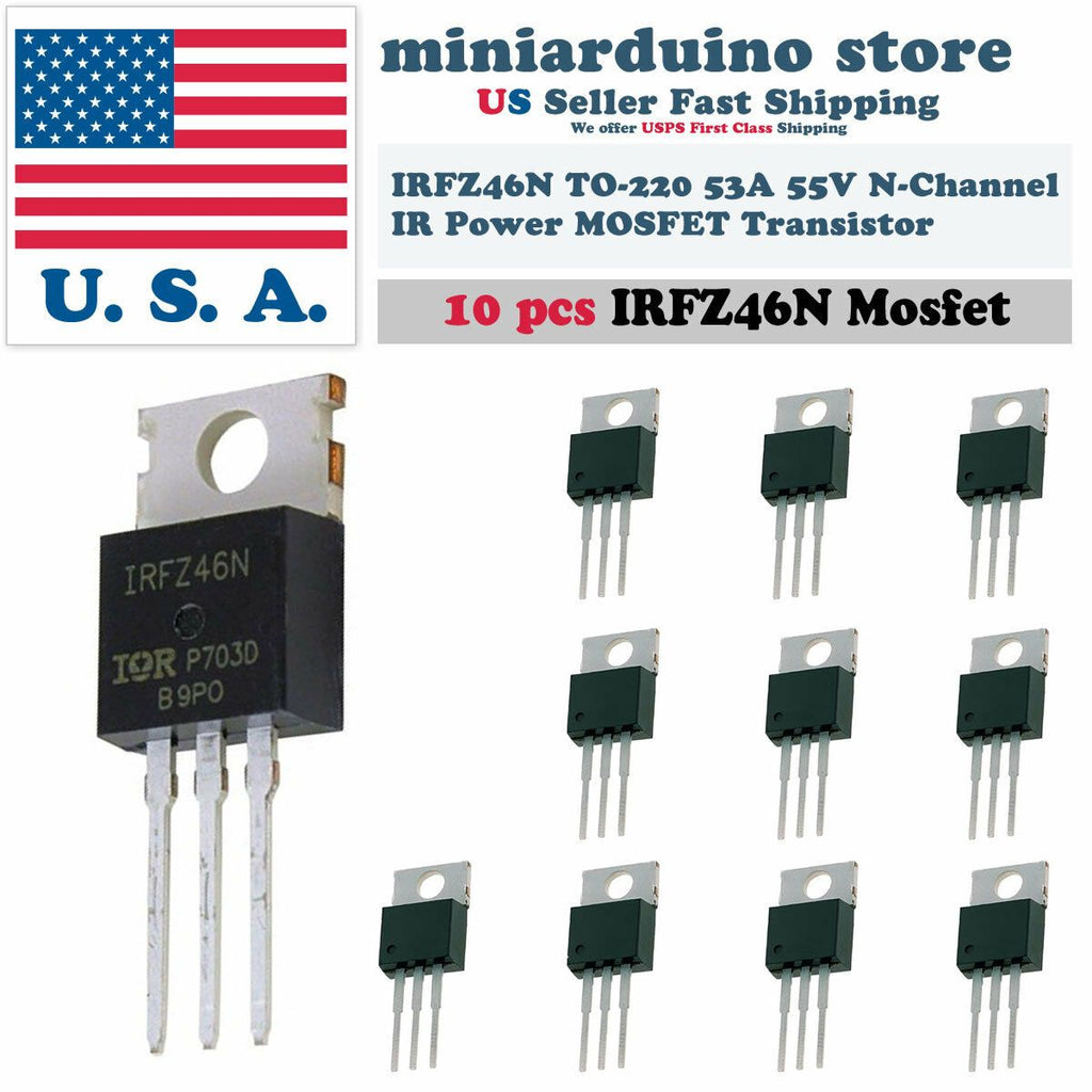 10pcs IRFZ46N IRFZ46 Power MOSFET Transistor HEXFET 53A 55V Fast Switching IR - eElectronicParts