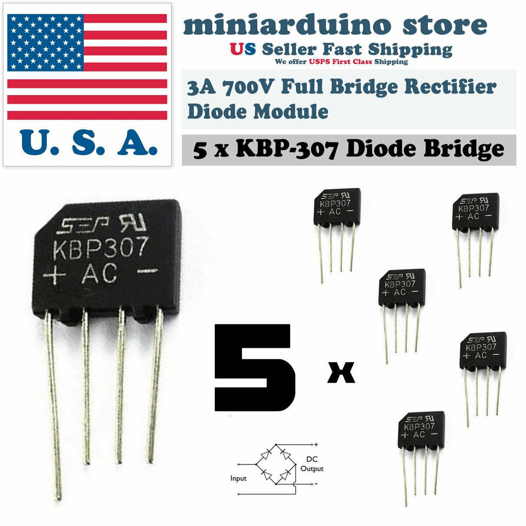 5PCS KBP307 Generic Diode Full Bridge Rectifier 3A 700V 4PIN - eElectronicParts