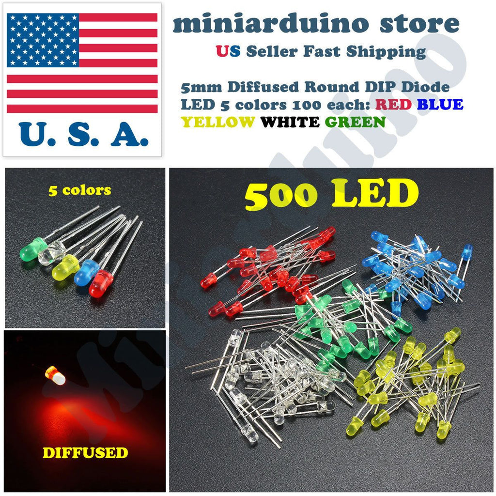500pcs 5mm LED Light Diffused White Yellow Red Blue Assorted Assortment DIY Set - eElectronicParts