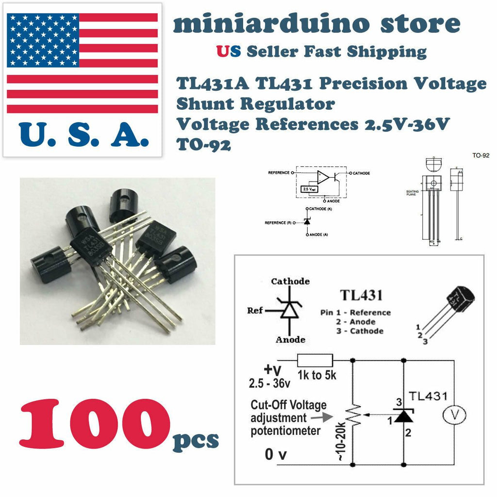 100Pcs TL431ACL TL431 Precision Shunt Regulator To-92 High quality - eElectronicParts