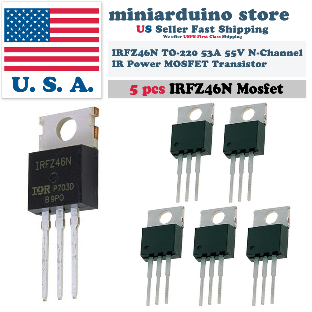 5pcs IRFZ46N IRFZ46 Power MOSFET Transistor HEXFET 53A 55V Fast Switching IR - eElectronicParts