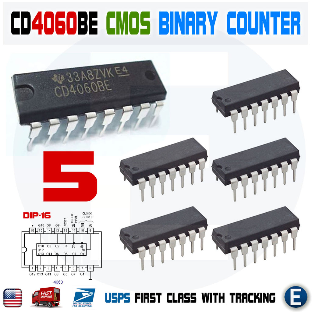5pcs CD4060 CMOS Binary Counter IC 4060 CD4060BE DIP-16 CD4060B Texas Instruments - eElectronicParts