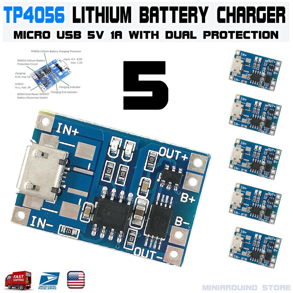 5pcs TP4056 Micro USB 5V 1A 18650 Lithium Battery Charging Dual Protection DW01A