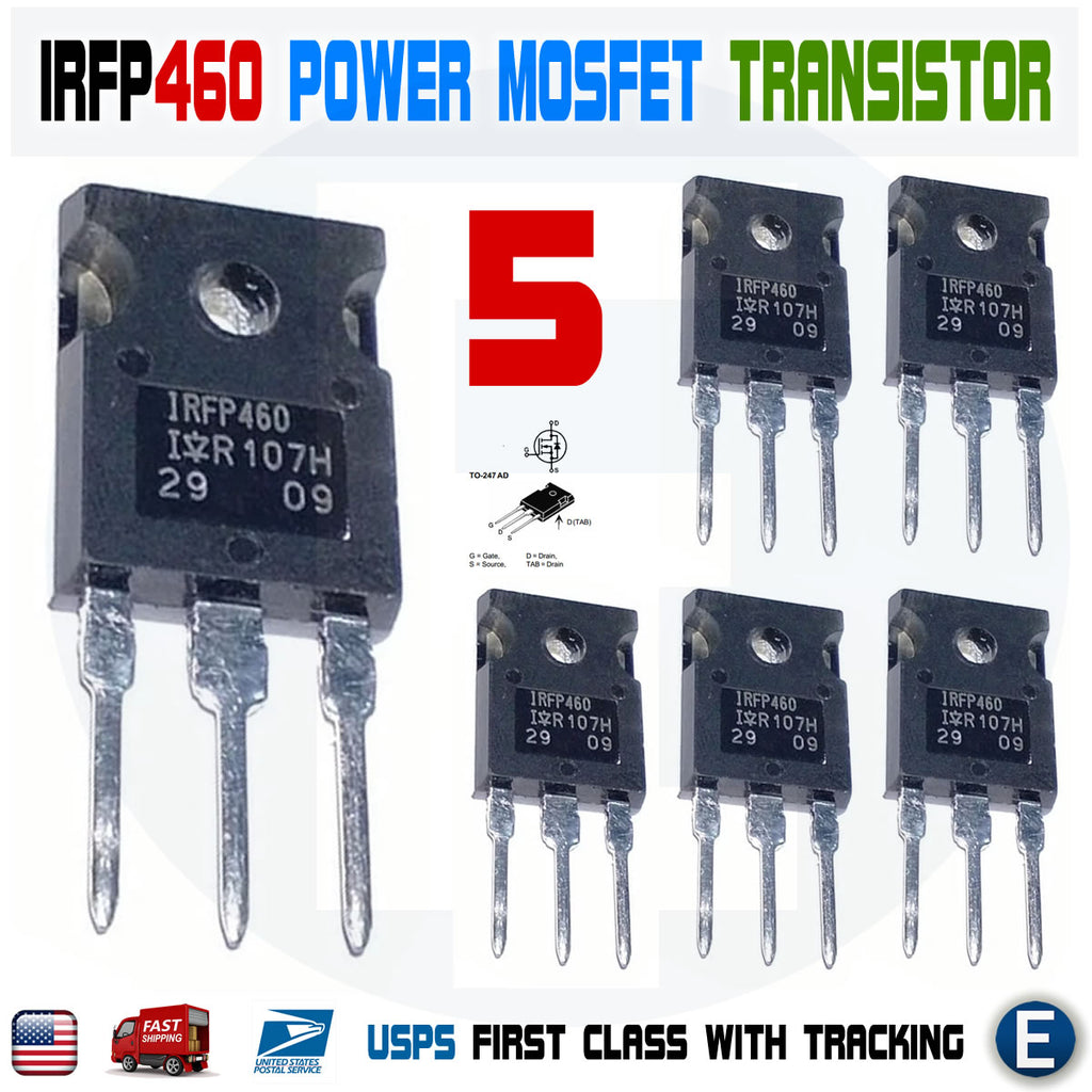 5pcs IRFP460 IRF460 Power MOSFET N-Channel Transistor IRFP460n 20A 500V TO-247 - eElectronicParts