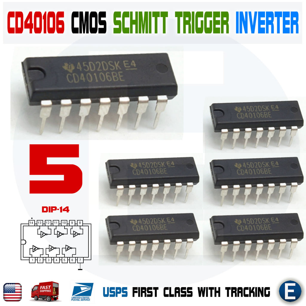 5PCS CD40106BE CD40106 DIP-14 40106 HEX Six Schmitt Trigger Inputs - eElectronicParts