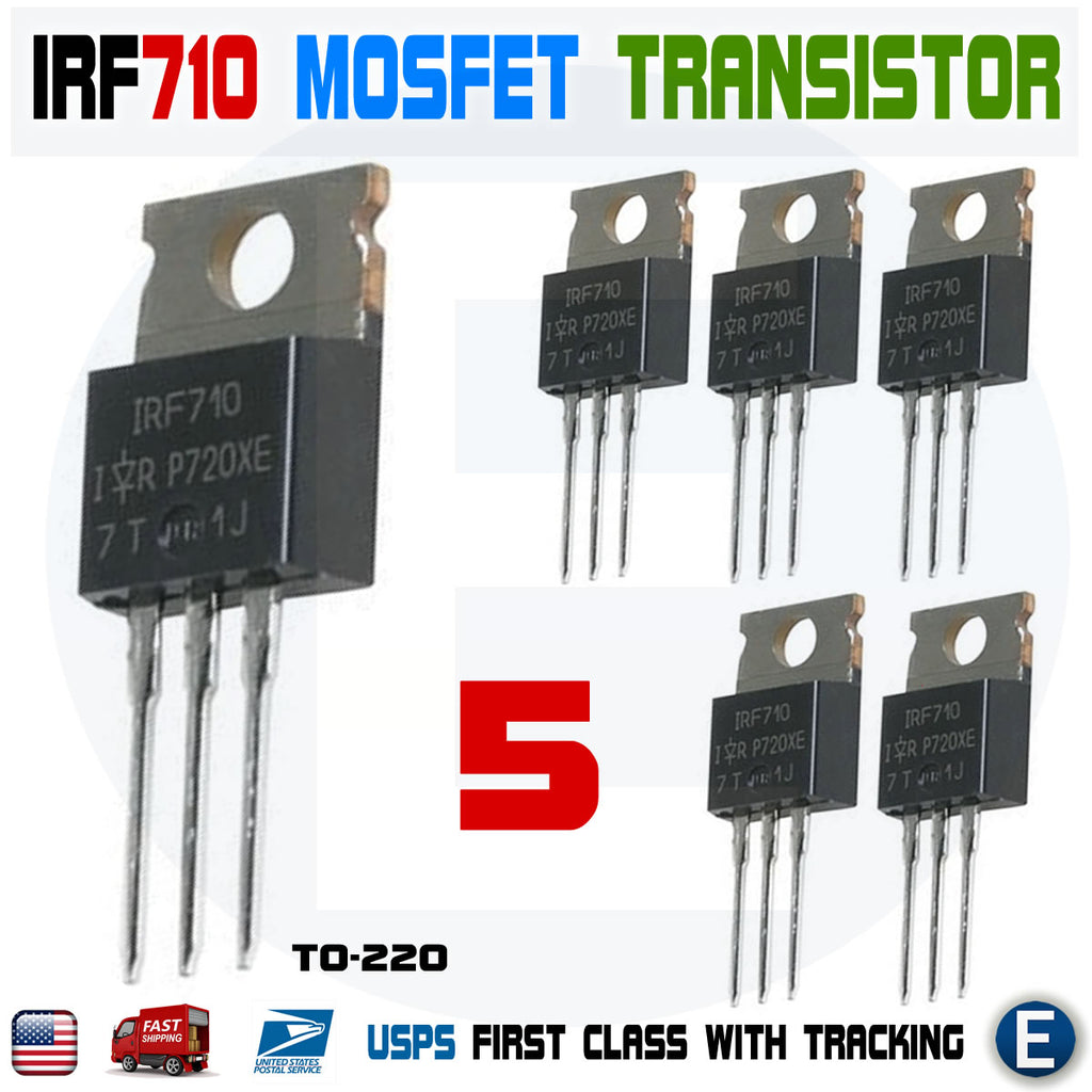 5pcs IRF710 N-Channel Power MOSFET Transistor, 2A 400V IR N-Channel TO-220 - eElectronicParts