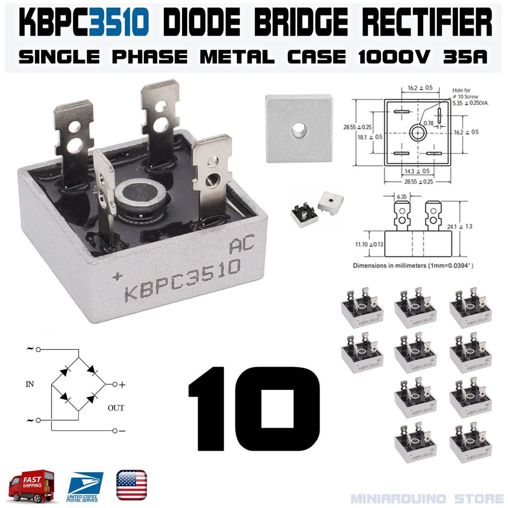 10pcs KBPC3510 Diode Bridge Rectifier Single Phase Metal Case 1000V 35A - eElectronicParts