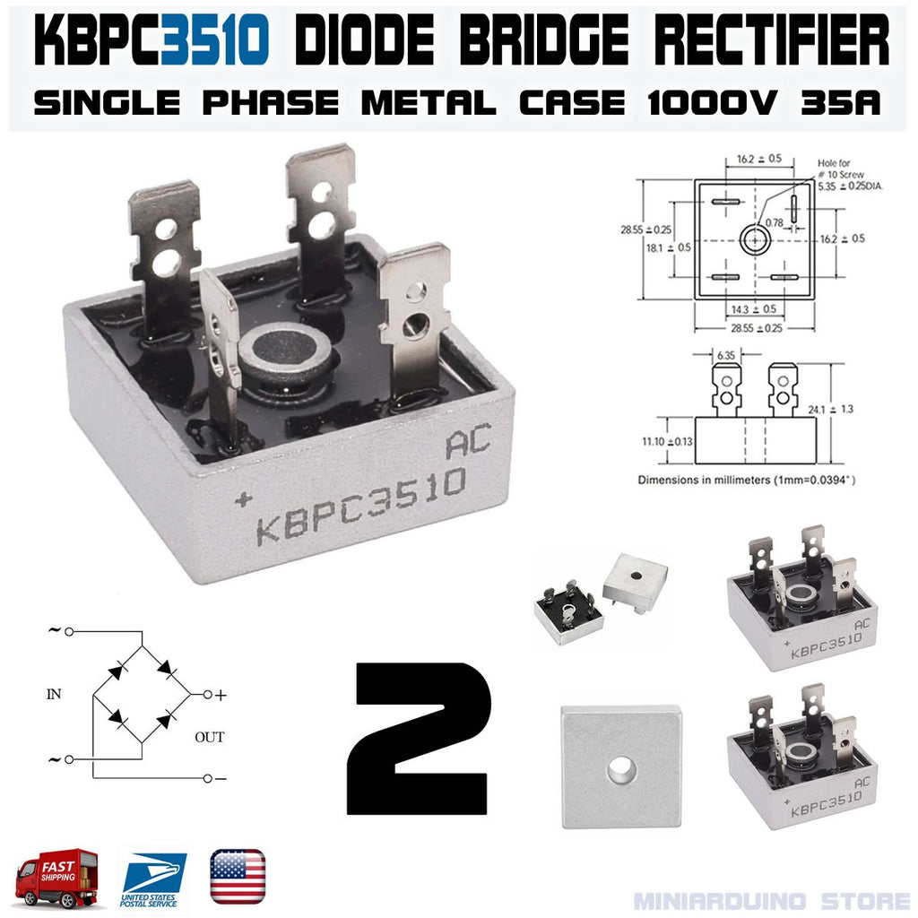 2pcs KBPC3510 Diode Bridge Rectifier Single Phase Metal Case 1000V 35A - eElectronicParts