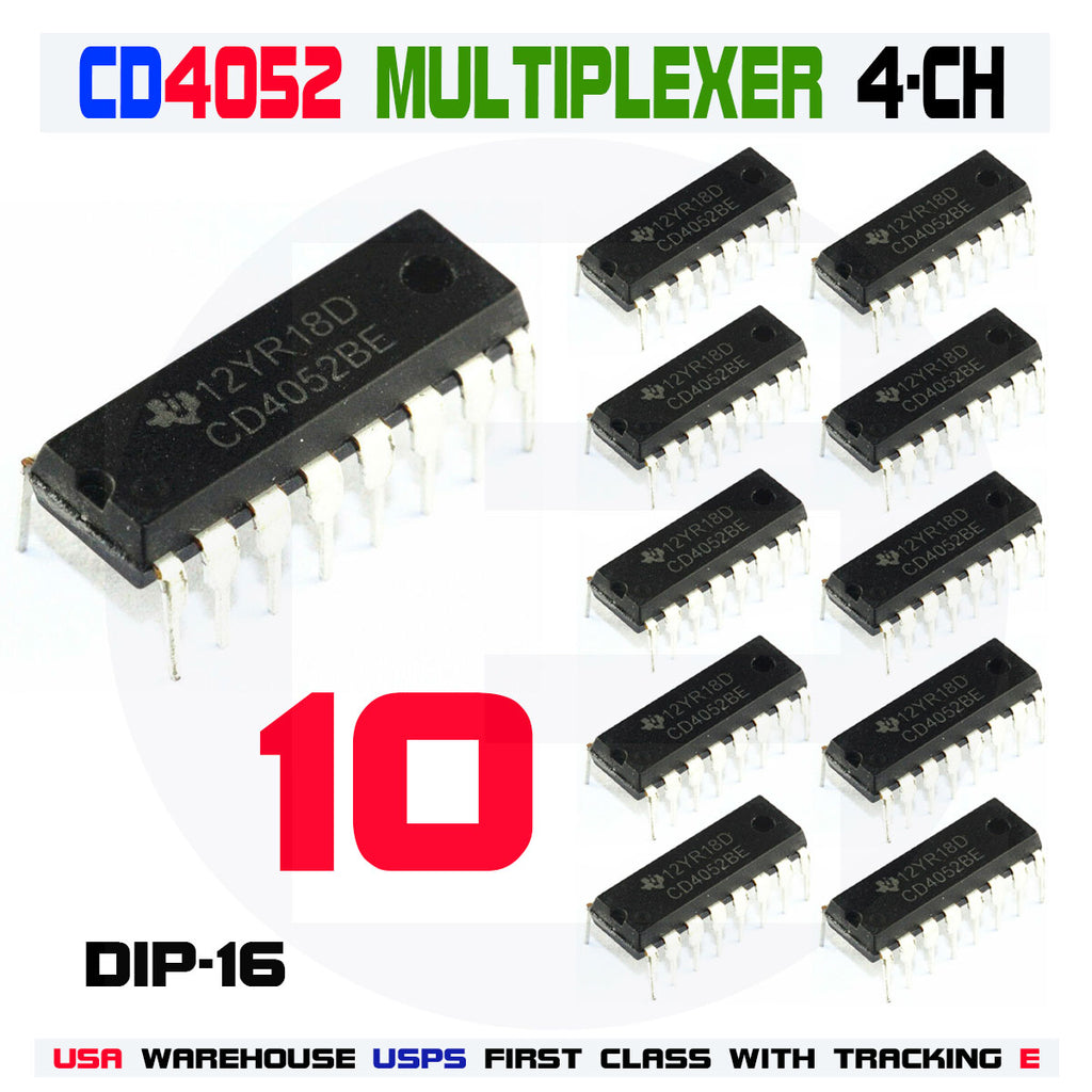 10Pcs CD4052 4-Channel Multiplexer Demultiplexer IC dip-16 CMOS - eElectronicParts