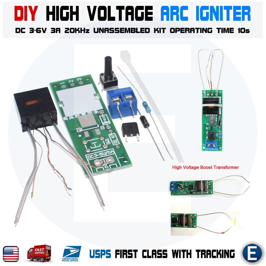 DC 3-5V DIY Kit High Voltage Generator Arc Igniter Lighter Unassembled Kit - eElectronicParts
