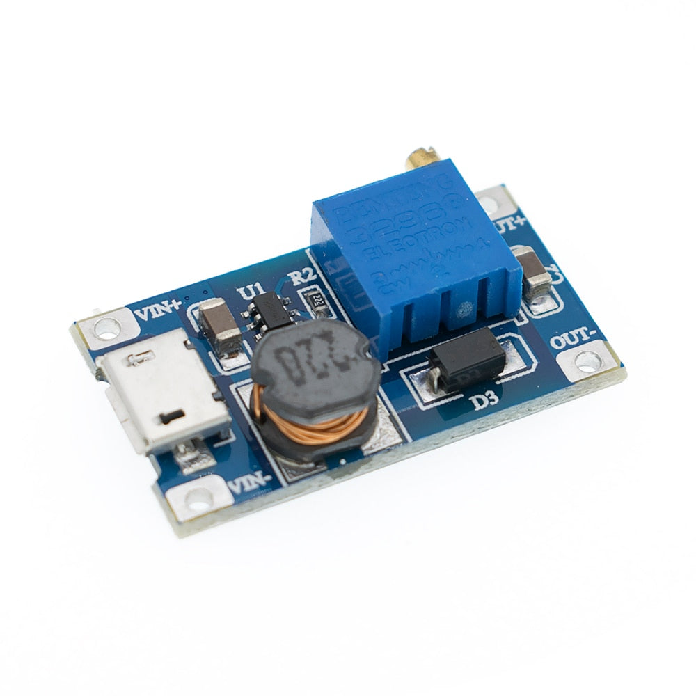 MT3608 MICRO USB DC-DC Voltage Step Up Adjustable Boost Converter Module 2A 2-24 - eElectronicParts