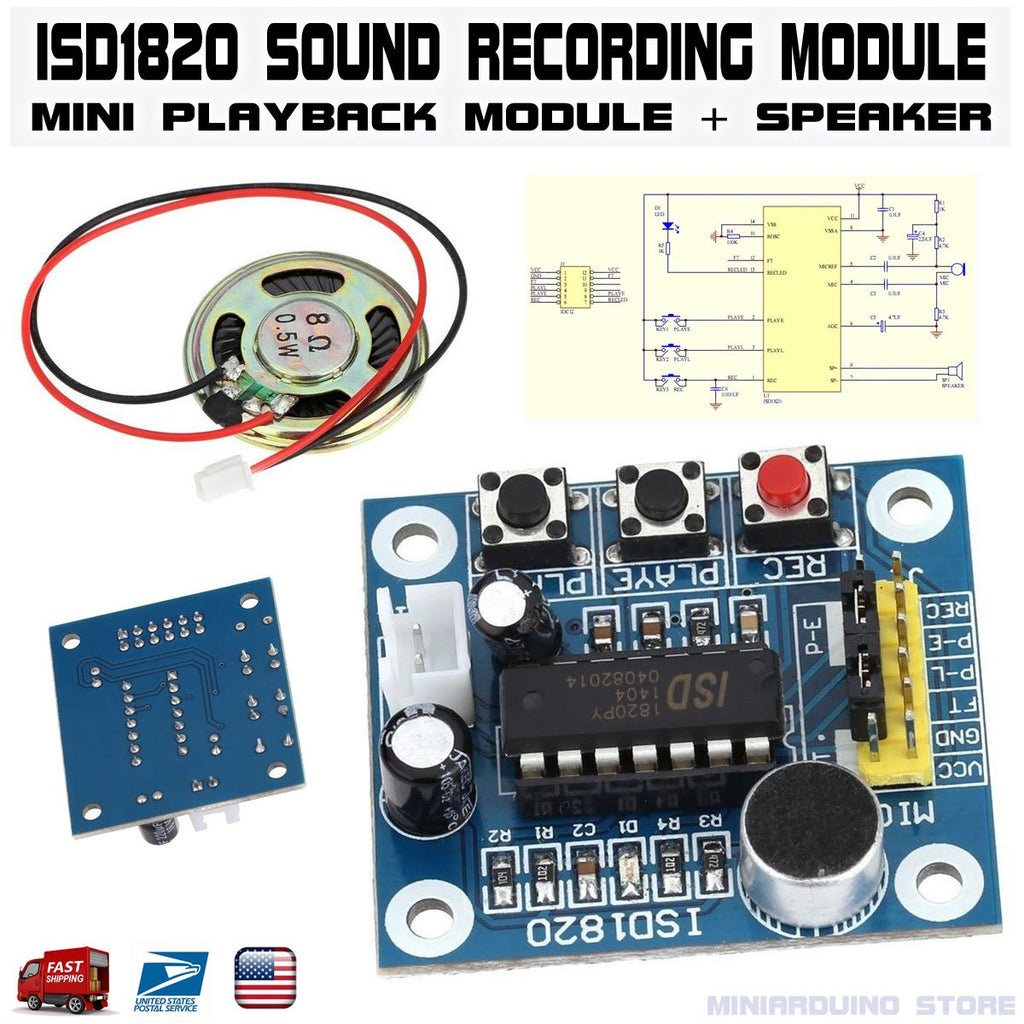 ISD1820 Sound Voice Recording Playback module w mini sound audio speaker - eElectronicParts