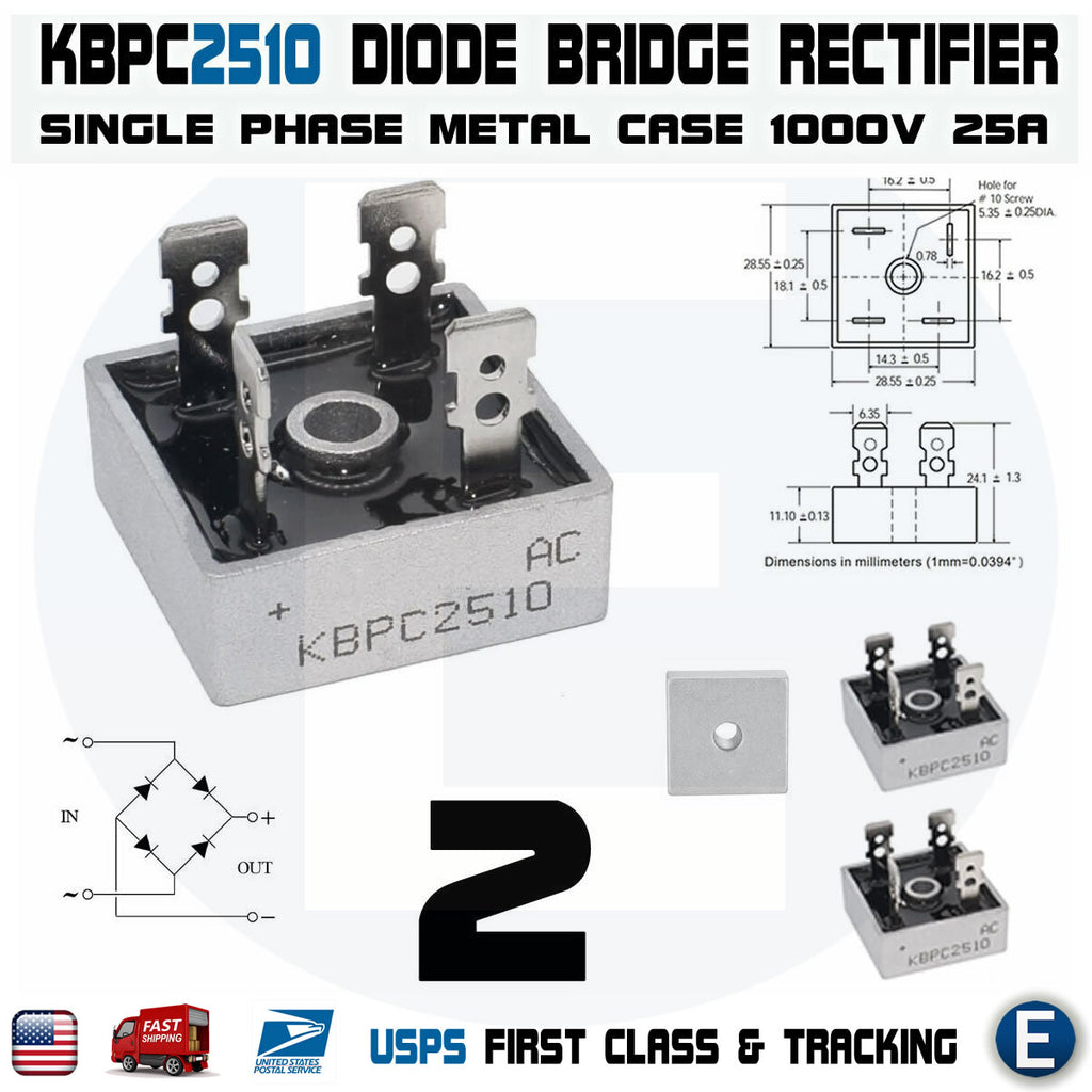 2pcs KBPC2510 Diode Bridge Rectifier Single Phase Metal Case 1000V 25A - eElectronicParts
