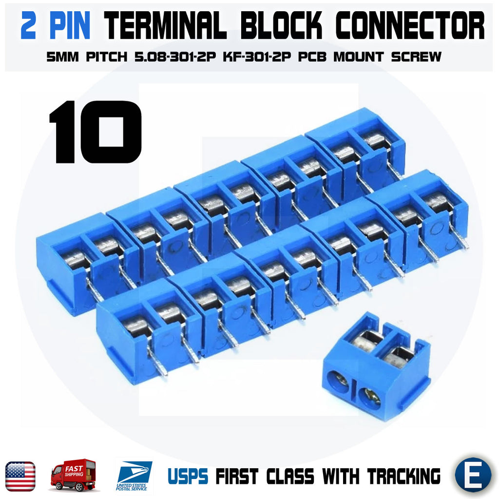 10PCS 2 Pin Screw Terminal Block Connector Blue PCB Mount KF301-2p 5.08mm - eElectronicParts