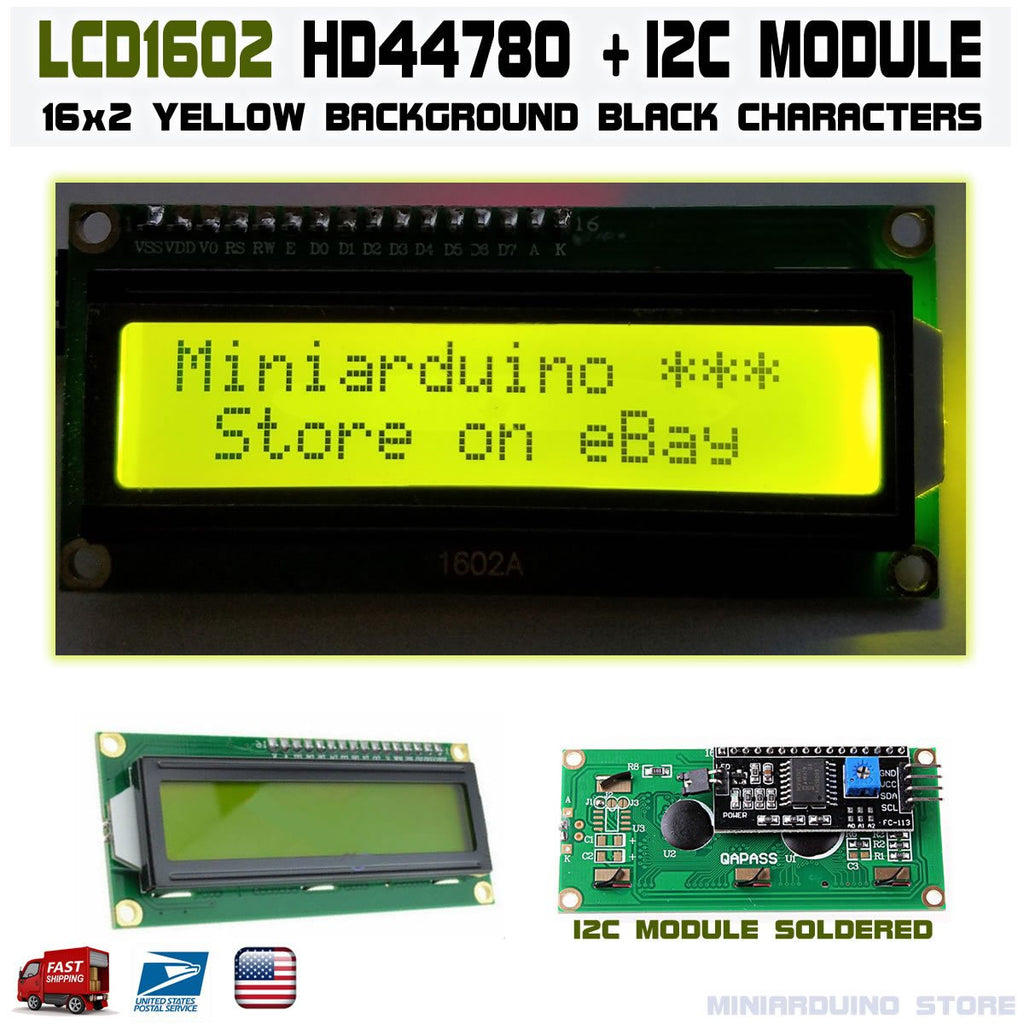 1602 LCD Green 16x2 HD44780 with IIC I2C Serial Interface Adapter Module Display - eElectronicParts