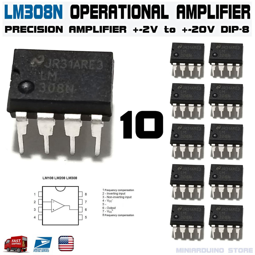 10pcs LM308N Operational Amplifier LM308 LM308AN DIP-8 - eElectronicParts