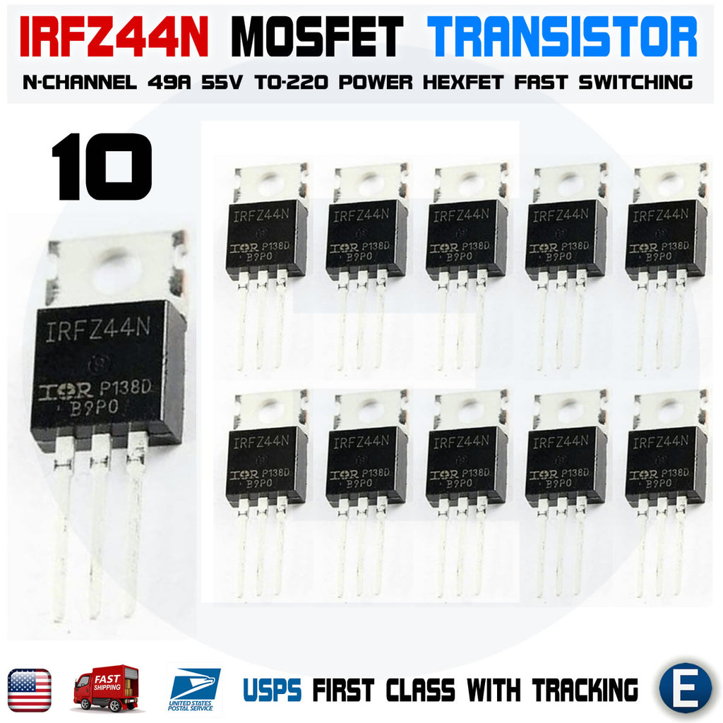 5PCS IRFZ44N IRFZ44 N-Channel 49A 55V Transistor MOSFET Component TO-220 power